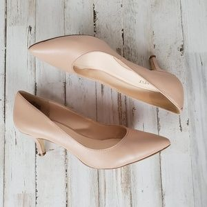 Nine West Nude Kitten Heel Pumps, EUC 7.5 M